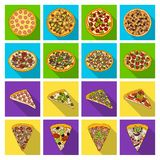 Pizza,slice with meat, cheese and other filling. Different pizza set collection icons in flat style vector symbol stock. Illustration Stock Photo