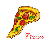 Pizza slice pizzeria fast food vector icon Royalty Free Stock Photos
