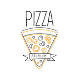 Pizza Slice And Ribbon Premium Quality Italian Pizza Fast Food Street Cafe Menu Promotion Sign In Simple Hand Drawn Royalty Free Stock Image
