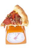 Pizza slice on a scale Royalty Free Stock Photos