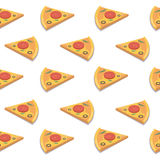 Pizza slice seamless pattern.Vector illustration. Stock Photos