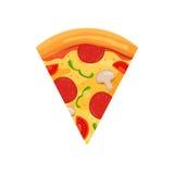 Pizza slice sign. Cartoon vector illustration. Colorful royalty free illustration
