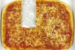Pizza without a slice. Top view royalty free stock photography