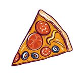 Pizza slice vector illustration. Hand drawn isolated on white background. royalty free illustration
