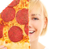 Pizza slice and woman Stock Photo