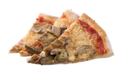 Pizza Slices. Three pizza slices with mushrooms on white background stock photography