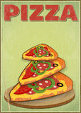 Pizza Slices. Vertical format. Cover Menu for Pizzeria in Retro Style. Illustration Royalty Free Stock Photos