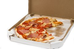 Pizza slices in a box, tomatoes, cheese, meat. Pizza slices in a box with tomatoes, cheese and meat, fast food isolate Stock Image