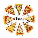Pizza slices character set, sketch for your design. Vector illustration Royalty Free Stock Photo