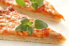 Pizza. Slices of cheese pizza with fresh oregano leaves royalty free stock images