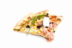 Pizza on slices isolated on white Stock Images