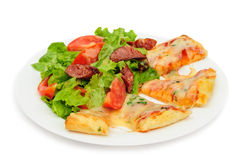 Pizza slices and salad Royalty Free Stock Images
