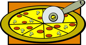 pizza slicing vector illustration Stock Image
