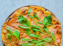 Pizza smoke salmon Stock Image
