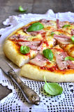 Pizza with smoked bacon. Royalty Free Stock Photo