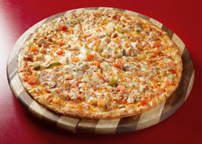Pizza with smoked hen Stock Photo