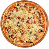 Pizza with smoked meat and mushrooms Royalty Free Stock Image