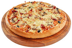 Pizza with smoked meat and mushrooms Royalty Free Stock Photography
