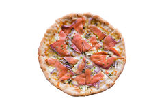 Pizza with smoked salmon Stock Image