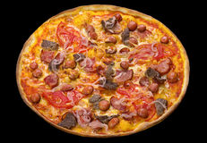 Pizza with smoked sausage Royalty Free Stock Images