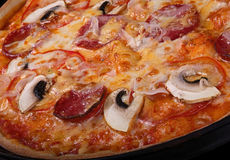 Pizza with smoked sausage and mushoom Stock Photography