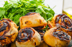 Pizza snails, minipizza with salad and parmagio Stock Images