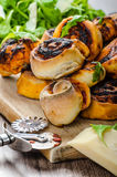 Pizza snails, minipizza with salad and parmagio Royalty Free Stock Photo