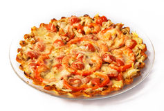 Pizza som är hemlagad med ost Arkivfoton