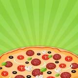 Pizza som är nära upp på en ljus bakgrund stock illustrationer