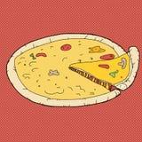 Pizza sopra fondo rosso Immagini Stock