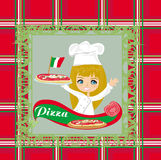 Pizza sorridente del servizio della cameriera di bar, carta del menu Fotografie Stock Libere da Diritti
