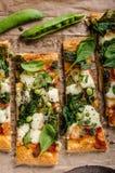 Pizza with spinach and mozzarella Stock Photos