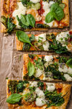 Pizza with spinach and mozzarella Stock Image