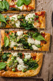 Pizza with spinach and mozzarella Royalty Free Stock Images