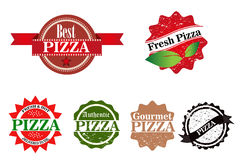 Pizza Stamps set vector Stock Images