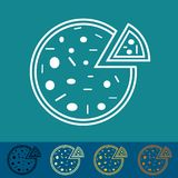 Pizza sticker or button - vector illustration - different colors. Isolated Stock Photos