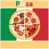 Pizza, stukken van pizza op de achtergrond van de Italiaanse vlag De pizza van de besnoeiing royalty-vrije illustratie