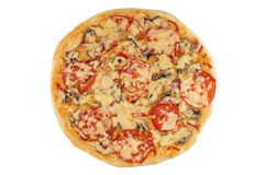Pizza su bianco Fotografie Stock