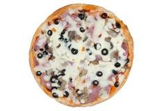 Pizza su priorità bassa bianca Immagini Stock Libere da Diritti