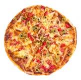 Pizza su priorità bassa bianca Fotografia Stock Libera da Diritti