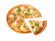 Pizza su priorità bassa bianca Immagine Stock Libera da Diritti