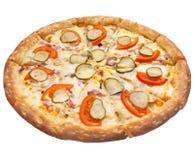 Pizza su priorità bassa bianca Fotografie Stock