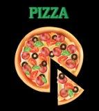 Pizza su un fondo nero Fotografia Stock