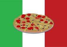 Pizza sulla bandiera italiana Immagine Stock