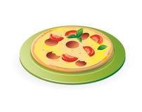 Pizza sulla zolla verde Fotografia Stock