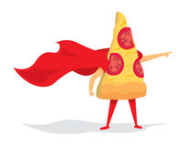 Pizza super hero with cape Stock Photography