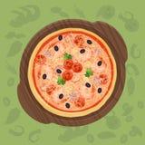 Pizza sur la planche à découper Illustration de concept de menu de pizza Image libre de droits