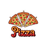 Pizza sur le fond blanc Objet de pizza Illustration Stock