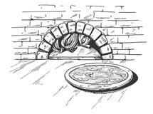 Pizza sur le fond de four de bois de chauffage Illustration Libre de Droits