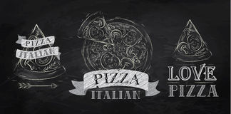 Pizza symbol. Chalk. Pizza symbol, icons and a slice of pizza with the inscription Italian stylized drawing with chalk on the blackboard Royalty Free Stock Images
